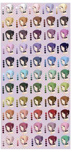 Skin Color Palette, Palette Art, Anime Poses Reference, Drawing Reference, Drawing Tips, Anime Hair Color, Hair Colour, Pelo Anime, Digital Art Anime