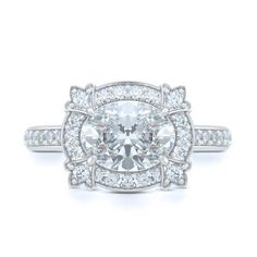 Custom Made Engagement Halo Ring in White Gold and Oval Brilliant Diamond. Vintage Inspired pave set halo and shoulders. Bashert Jewelry. Boca Raton Florida