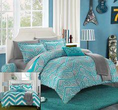Chic Home 10 Piece Laredo Chevron and Geometric Printed Reversible Comforter Sheet Set