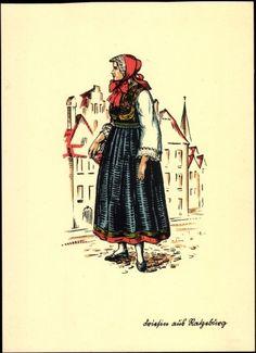 Künstler Ak Trachten Schleswig Holstein, Mädchen aus Ratzeburg