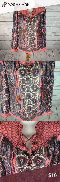 American Rag Paisley Blouse | Great Condition | Paisley design around shirt | High / Low | Sheer | Laces up at the neck | American Rag Tops Blouses