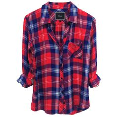 Rails Hunter Plaid Shirt in Cobalt/Cherry/White ❤ liked on Polyvore featuring tops, white top, plaid shirts, cherry shirt, tartan plaid shirt and tartan top