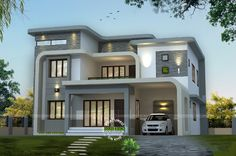 4 Bedroom Contemporary Style Unique Flowing Home Design In An Area Of 3064  Square Feet Square Meter) Square Yards). Design Provided By: Home Design  Square ...