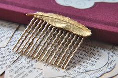 Feather Hair Comb - FawningInLove - $12.00