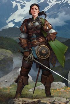 f Ranger Med Armor Shield Cloak Rapier Hills Conifer Forest Mountains Female Human Sword Leather Armor Shield Pathfinder PFRPG DND D&D Fantasy Grounds High Fantasy, Fantasy Rpg, Fantasy Women, Medieval Fantasy, Dungeons And Dragons Characters, Dnd Characters, Fantasy Characters, Female Characters, Fantasy Character Design