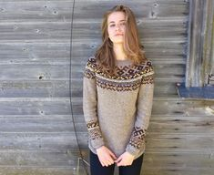 Fair Isle sweater Icelandic sweater Taupe sweater Women's by adaLV