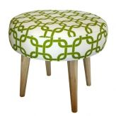 Chartreuse Geometric Footstool
