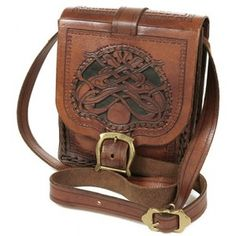 Brown Tooled Leather Celtic Knot Bag