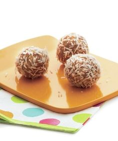 Mix rice cereal and cashew butter together for a crisp yet creamy sweet treat. Get the recipe for Coconut Cashew Butter Bonbons.