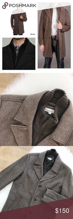 🖤 S A L E 🖤 Kenneth Cole New York Men's Overcoat Kenneth Cole New York Men's Overcoat in Herringbone Brown, size Medium, my husband only wore it a couple of times, got it from Macy's, excellent condition, dry clean only, wool blend, encloses with zipper and then top 3 buttons, front pockets, interior chest pocket, hook.                            🐣n o • t r a d e s🐣                    s m o k e • f r e e • h o m e             s a m e/n e x t • d a y • s h i p p i n g Kenneth Cole Jackets…