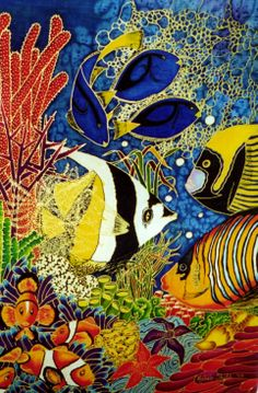 """I call this silk painting """"Coral Cay"""" It was one of my early works and I was quite pleased with the result! Fabric Painting, Fabric Art, Underwater Art, Silk Art, Tropical Art, Animal Tattoos, Art Tutorials, Painting Inspiration, Altered Art"""