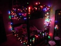 elf on the shelf Ti-Gui installed christmas lights in the girls bedroom :)