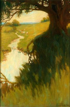 ☼ Painterly Landscape Escape ☼ landscape painting by N. C. Wyeth | Chadds Ford landscape, 1903
