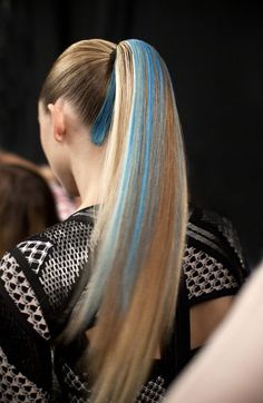 Blue hair streaks at Herve Leger fall 2014