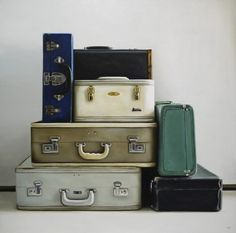 love this realist painting of vintage luggage by Christopher Scott... great colors!