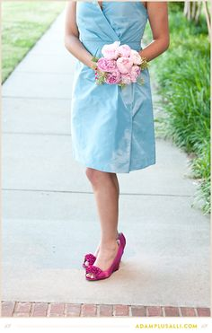 Don't be afraid to use bright colors!  Blue bridesmaids dress.  Pink Shoes.  Pink peonies.  Wedding colors - Pink and Blue.
