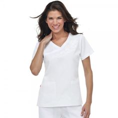 Orange Standard Malibu Top in White. This mock wrap ladies scrub top has a stylish Y neckline with beautiful floral detail, side slits for easy fitting and two practical pockets. Dental Uniforms, Healthcare Uniforms, White Scrubs, Koi Scrubs, Medical Scrubs, Bright Colours, Scrub Tops, Neckline, Orange