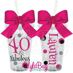 40 AND FABULOUS Personalized Acrylic Tumbler LylaBug Designs