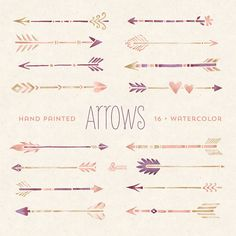 Hand painted Arrows Watercolour 16 Clipart. Tribal, native diy elements, invitation, watercolor, transparent, digital png, hires, boho style