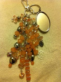 Beach beads, silver chain, charms key chain on Etsy, $15.00