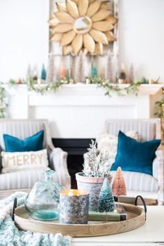 I want to inspire you this holiday season with a colorful holiday mantel. The stand out decor has mini trees in all different colors, plus metallic votives. Modern Christmas Decor, Christmas Home, Christmas Decorations, Table Decorations, Holiday Decorating, Christmas Holidays, Christmas Ideas, Decorating Ideas, Winter Table