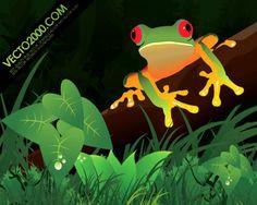 ilustraciones de rana en una selva | Descargar Vectores gratis