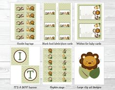 Safari Friends Jungle Animal Baby Shower by LittlePrintsParties