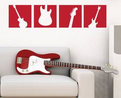 boys bedroom guitar | Guitar Wall Decal Squares - Vinyl Wall Art Sticker - Boy Bedroom Wall ...