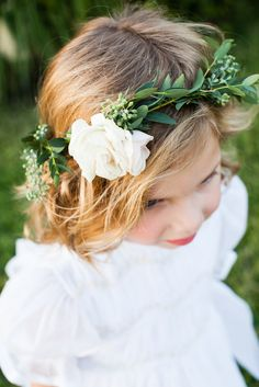 Chic Lakeside Wedding at Vintage Villas. Flower Girl Crown ... f3c358e2ffe