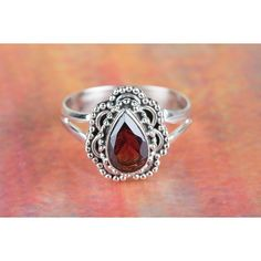 Amazing Faceted Garnet Gemstone Handmade 925 Sterling Silver Ring via Polyvore featuring jewelry, rings, garnet ring, garnet jewellery, sterling silver garnet ring, sterling silver rings and garnet jewelry