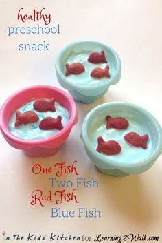 Easy Preschool Snack inspired by Dr. Seuss's One Fish Two Fish Red Fish Blue Fish.