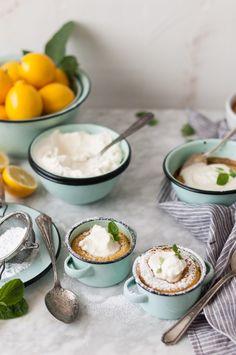 Meyer Lemon Pudding Cakes + Honeyed Chevre Whipped Cream - The Kitchen McCabe