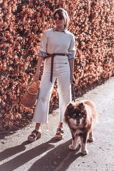 All white in cashmere and denim culottes with a leather knot belt, basket bag and Fitflop pilar clog sandals Denim Culottes, Clog Sandals, Basket Bag, Fitflop, Dog Walking, Clogs, Budgeting, Essentials, Isabel Marant