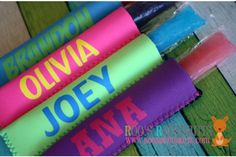 Personalized Ice Pop Sleeves  Keep fingers from freezing while staying cool this summer with a Personalized Ice Pop Sleeve! 42% OFF