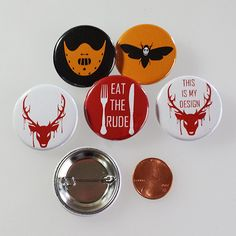 Hannibal Button Set (of 4+1 FREE) from Yume's Shop