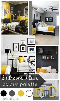 Colour palette for bedroom black and yellow bedroom ideas with colour palette white walls colour combination . colour palette for bedroom 5 ideas Yellow Gray Bedroom, Yellow Bedding, Bedroom Black, Bedroom Colors, Colourful Bedroom, Grey Bedding, Bedroom Colour Schemes Neutral, Bedroom Small, Design Bedroom