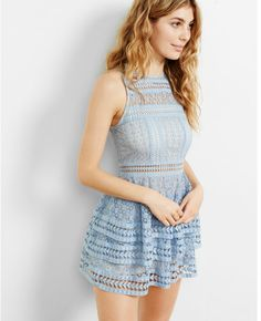 Express tiered lace fit and flare dress Fit Flare Dress, Fit And Flare, Lace Dress, Dress Up, Dress Ootd, Camila Morrone, Girl Outfits, Fashion Outfits, Style Fashion