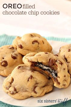 Oreo Filled Chocolate Chip Cookies | Six Sisters' Stuff