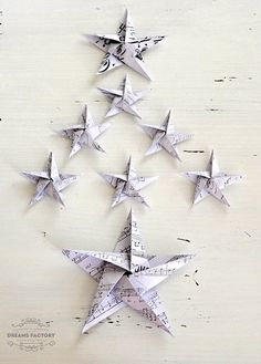 French DIY Paper Stars Ornaments | AllFreeHolidayCrafts.com