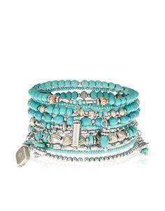 10 x Ethnic Eclectic Stretch Bracelets   Blue   Accessorize
