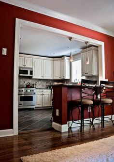 Stunning Red Kitchen Design and Decorating Ideas. Beautiful pictures of modular red color kitchen. See more ideas about Home ideas, My house and Colorful kitchens. Half Wall Kitchen, Living Room Kitchen, Dining Rooms, Kitchen Pass, Kitchen Island, Red Kitchen Walls, Dining Area, Apartment Kitchen, Kitchen Peninsula