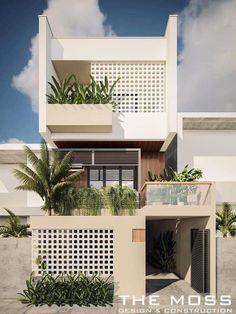 Minimal House Design, Modern Small House Design, Modern Minimalist House, House Front Design, Facade Design, Exterior Design, Architecture Design, Narrow House Designs, Modern House Facades
