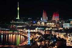 Night in Baku city July Birth Flower, Birth Flowers, Azerbaijan Travel, Baku Azerbaijan, Baku City, Ares, Homeland, San Francisco Skyline, Modern Architecture