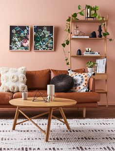 38 Ideas Apartment Decorating Living Room Brown Coffee Tables For 2019 Brown Couch Living Room, Living Room Paint, Rugs In Living Room, Living Room Interior, Home Interior, Interior Design, Living Room Decor Orange And Brown, Interior Paint, Pastel Living Room