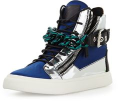 Giuseppe Zanotti Men's Satin & Metallic Chain High-Top Sneaker, Blue/Silver on shopstyle.com
