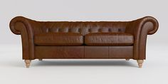 Buy Gosford Buttoned Leather Large Sofa (3 Seats) Cuba Dark Tan Low Turned - Light from the Next UK online shop
