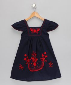 Blue & Red Nayeli Dress by Little Cotton Dress