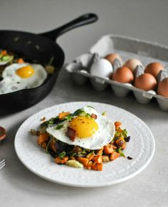 this Brussels Sprouts Breakfast Hash works for breakfast or dinner! I howsweeteats.com