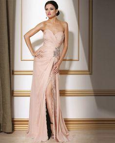 $114.39 Chiffon Nail Beads Applique Pleated Strapless Floor Length Evening Dress #fashion #dress