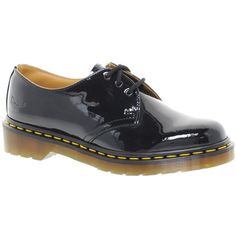 Dr Martens 1461 Classic Black Patent Flat Shoes (405 BRL) ❤ liked on Polyvore featuring shoes, black, black patent shoes, flower print shoes, black patent flats, floral-print shoes and floral shoes